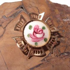 Guilloche Enamel Brooch VINTAGE Pink Rose Guilloche Pin ROSE Gold Filigree Enamel Cloisonne Rose Flower Ready to Wear Vintage Jewelry (Y61) by punksrus on Etsy