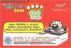 Amici Cucciolotti 2016: Retro Figurina n. 195 Pesce Spatola Cinese