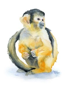 Squirrel Monkey watercolor giclée reproduction. Portrait/vertical orientation. Printed on fine art paper using archival pigment inks. This quality printing allows over 100 years of vivid color in a ty