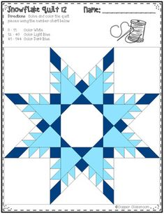Free Snowflake Quilt Color by Code for Multiplication Facts up to 12 x 12 Quilt Square Patterns, Barn Quilt Patterns, Paper Piecing Patterns, Star Quilts, Quilt Blocks, Quilting Projects, Quilting Designs, Millefiori Quilts, Millefiori Quilt Pattern