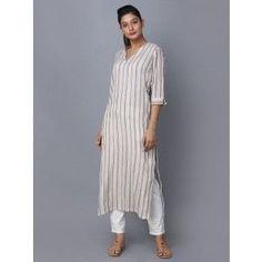 Beige Striped Cotton Kurta is part of Kurta designs women - Simple Kurti Designs, Salwar Designs, Kurta Designs Women, Kurti Designs Party Wear, Blouse Designs, Kurta Patterns, Kurta Style, Kurta Neck Design, Sleeves Designs For Dresses