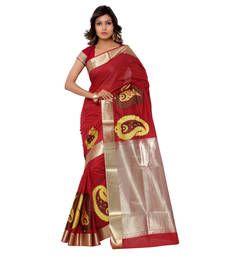 Buy Eid Special Red hand woven banarasi silk saree with blouse banarasi-silk-saree online