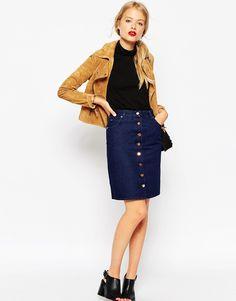 Image 1 ofASOS Denim Polly A-line Button Through Midi Skirt in Indigo