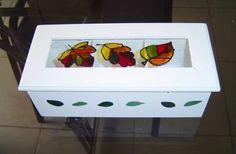 caja de te 3 divisiones-  con vidrio vitraux