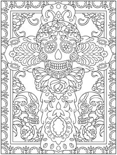 Dover publications coloring books adult coloring pages sugar skulls best of day of the dead coloring Skull Coloring Pages, Cool Coloring Pages, Coloring Pages To Print, Printable Coloring Pages, Coloring Sheets, Adult Coloring, Coloring Books, Free Coloring, Arte Latina