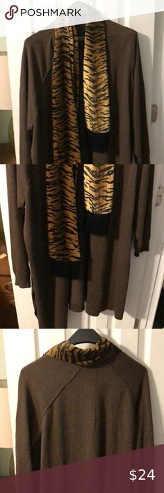 89th and Madison Long Cardigan Sweater with scarf Great for Cool evenings while out on the town 89th and Madison Sweaters Cardigans V Neck Cardigan, Cashmere Cardigan, Wool Cardigan, Online Thrift Store, Cardigan Fashion, Black Ruffle, Long Sweaters, Cardigans For Women