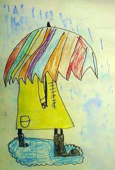 Rainy day MUST HAVE :  1.yellow raincoat  2.colorful umbrela!