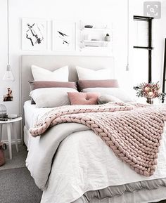 Thick knitted throw, bright white bedroom, blush + grey accents