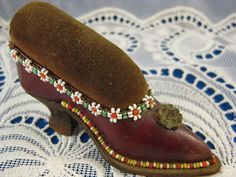 Antique ~ VICTORIAN SHOE PIN CUSHION ~ Leather with Floral Bead Accent
