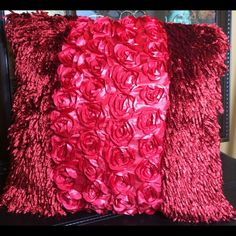Set of 2 satin 18 x 18 pillow covers red Set of two satin 3-D Rose 18 x 18 pillow covers great for any room at the house brand-new in factory packaging Posh Spaces Other