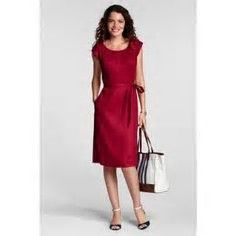 Lands' End Maroon Linen Sheath Dress