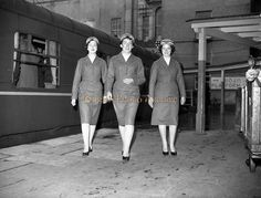 CIE rail hostesses set off on a long journey from Kingsbridge Station (Hueston Station), Dublin. Irish Fashion, Photo Archive, Dublin, Old Photos, Ireland, Journey, Times, Old Pictures, Vintage Photos