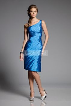 Ruched Empire Knee Length Taffeta Bridesmaid Dress