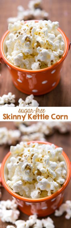 Skinny Sugar Free Kettle Corn is the perfect snack when you&apos My low carb diet. Skinny Sugar Free Kettle Corn is the perfect snack when you're counting calories. Popcorn Recipes, Snack Recipes, Dessert Recipes, Cooking Recipes, Healthy Treats, Healthy Desserts, Healthy Recipes, Diabetic Recipes, Healthy Eating