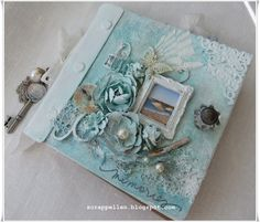 Decorated Canvas mini album from Prima Scrapbook Canvas, Beach Scrapbook Layouts, Scrapbook Paper Crafts, Chipboard Crafts, Mini Albums, Mini Scrapbook Albums, Mix Media, Fabric Journals, Art Journals