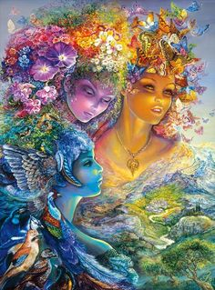 This stunning 1000 piece jigsaw puzzle is based on the painting The Three Graces by Josephine Wall and is enhanced with gold glitter highlights throughout the puzzle! Finished size: x Josephine Wall, Celtic Dragon, Celtic Art, Painting People, Cross Paintings, Fairy Art, Psychedelic Art, Islamic Art, Doodle Art