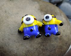 Glass Lampwork beads.... Two Minion beads for making pair of earrings by BdazzledJewellery on Etsy