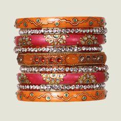 Orange and pink bangles. Chamak by Priya Collections.