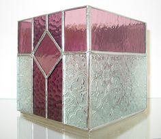 Stained Glass Candle Box Purple Mauve and by DobbyStainedGlass