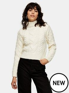 topshop-cable-crop-roll-neck-jumper--nbspivory High Waisted Leather Trousers, Topshop Online, Topshop Outfit, Roll Neck Jumpers, Block Heel Ankle Boots, Brand Store, Teacher Outfits, Hats For Women, Knitwear