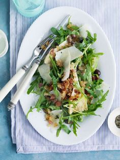 Rocket, parmesan and olive salad with pancetta crumbs