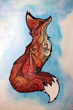 Mandala fox Hard Transparent Case for iPhone 7 7 Plus 6 Plus 5 SE 4 Art And Illustration, Mandala Art, Animal Drawings, Cool Drawings, Fox Art, Art Plastique, Painting & Drawing, Fox Drawing, Fox Painting