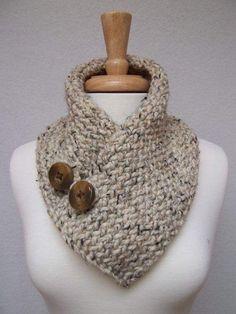love this--warm but not too bulky. perfect for winter trip. Cowl Knitted Oatmeal Buttoned Neck Warmer Scarflette Scarf by NinisNiche Crochet Scarves, Knit Crochet, Knitting Projects, Crochet Projects, Knitting Patterns, Crochet Patterns, Knit Cowl, Loom Knitting, Neck Warmer