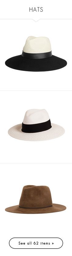 """""""HATS"""" by blvkilla ❤ liked on Polyvore featuring accessories, hats, black, rabbit fur hat, rabbit felt hat, fedora hat, felt fedora, straw hats, white combo and white panama hat"""