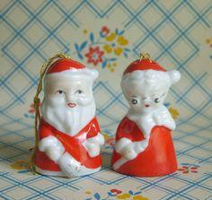 """Vintage Santa Claus & Mrs Bells Porcelain Christmas Ornaments Japan 2"""""""