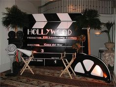backdrop- make this- use matte paint- avoid glare Dance Themes, Prom Themes, Movie Themes, Movie Night Party, Movie Nights, Hollywood Birthday Parties, Hollywood Party Decorations, Bollywood Theme, Red Carpet Party