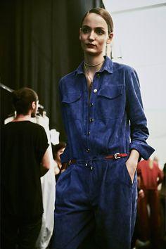 Blue suede jumpsuit backstage at Trussardi SS15 MFW. More images here: http://www.dazeddigital.com/fashion/article/21856/1/trussardi-ss15