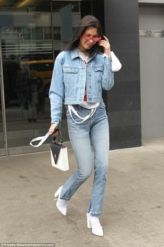 Do double denim like Bella in RE/DONE jeans. Click 'Visit' to buy now. #DailyMail