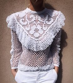 The item was made of cotton yarn Crochet Skirts, Crochet Blouse, Crochet Clothes, Crochet Lace, Crochet Summer, Crochet Designs, Crochet Patterns, Skirt Patterns, Coat Patterns