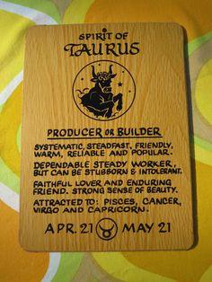 VTG 1970s Retro Horoscope Zodiac Horoscope Sign Wooden NOS Wall Art TAURUS BULL