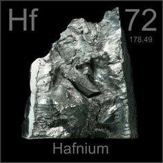 72 Hafnium -Hf- A soft, shiny, silvery transition metal which is chemically very similar to zirconium. It is protected from corrosion by an oxide layer