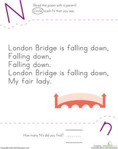Worksheets: Find the Letter N: London Bridge Is Falling Down