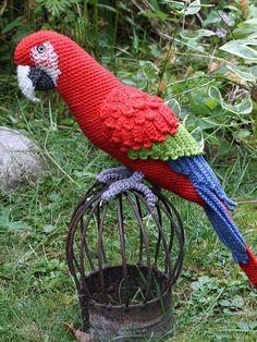 Amigurumi Red-and-Green Ara/Parrot-gehaakt patroon door CAROcreated