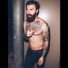 Levi Stocke - full thick dark red beard shirtless beards bearded man men tattoos tattooed chest auburn redhead ginger mustache bearding #beardsforever