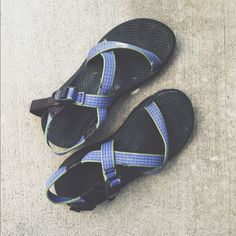 dc35204f7547 Single Strap Blue and Green Chacos🌲 These babies are ready for your next  adventure! Gently worn in with lots of life left in them! A teeny bit  dirty