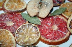 I'm so excited to try this! Dried citrus and apple slices made into ornaments and even a wreath. Just need to get some mod podge - didn't use that last time.