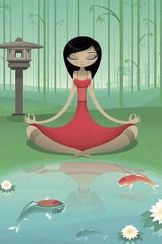 We all have to deal with stress from either work or school. You can't close your eyes to make it go away but you can find peace so you can deal with it. One technique that can offer this is called Zen meditation. Zen meditation is Walking Meditation, Guided Meditation, Yoga Kunst, Yoga Cartoon, Yoga Illustration, Mudras, Sup Yoga, Qi Gong, Yoga Art