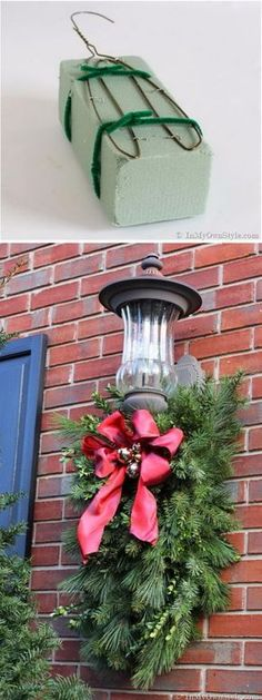 DIY: Christmas Porch Light Decoration - - How to Make and Decorate with Holiday Greenery To Hang Over an Outdoor Light Noel Christmas, Christmas Projects, Winter Christmas, Christmas Lights, Christmas Wreaths, Christmas Greenery, Cheap Christmas, Christmas Ideas, Diy Outdoor Christmas Decorations