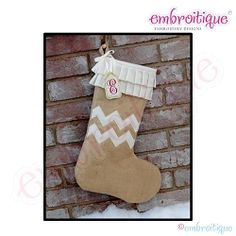 Posh and Proper - Chevron Burlap Stocking PDF Sewing Pattern | Christmas | Machine Embroidery Designs | SWAKembroidery.com Embroitique