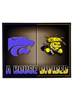 Wichita State & Kansas State Wildcats House Divided Poster
