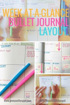 It's a bullet journal week-at-a-glance layout! A quick, step-by-step video guides you through this easy, but versatile layout for those who LOVE to look at a full week, or those that simply NEED to ; Bullet Journal Week, Bullet Journal How To Start A, Bullet Journal Junkies, Bullet Journal Spread, Bullet Journal Layout, Bullet Journal Inspiration, Bullet Journals, Bullet Journal Printables, Journal Template