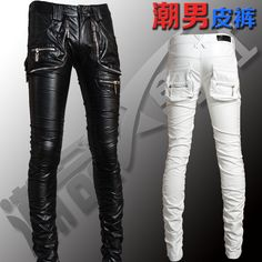 Cheap pants monkey, Buy Quality pants clothing directly from China pants Suppliers: HOT ! 2014 NEW Men fashion personality motorcycle pants tight leather trousers tide hairstylist dating arena Lederhosen / Tight Leather Pants, Leather Trousers, Leather Men, Black Leather, Motorcycle Pants, Motorcycle Style, Motorcycle Fashion, Modern Mens Fashion, Men Fashion