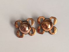 SALE RENOIR Rare Modernist Copper Clip-On Earrings Vintage Jewerly Renoir Copper Jewelry Domed Earrings