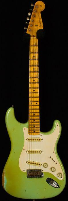 "fender custom shop - masterbuilt dealer select wildwood ""10"" '57 strat relic. faded surf green."