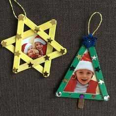 Make Christmas decorations with children- Weihnachtsschmuck mit Kindern basteln Four ideas on how to make Christmas ornaments with children … - Kids Crafts, Christmas Crafts For Kids, Christmas Activities, Craft Stick Crafts, Christmas Decorations To Make, Simple Christmas, Christmas Art, Holiday Crafts, Diy And Crafts