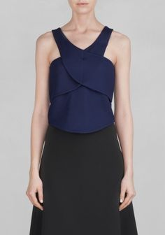 And Other Stories | Cropped jersey top | Blue Reddish Dark